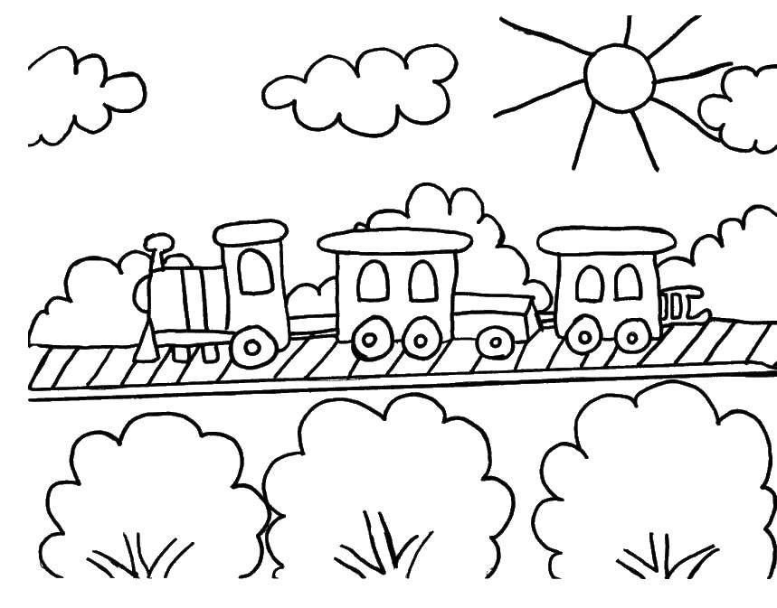 Раскраска Паровозик на рельсах Скачать поезда, рельсы, паровозик.  Распечатать ,поезд,