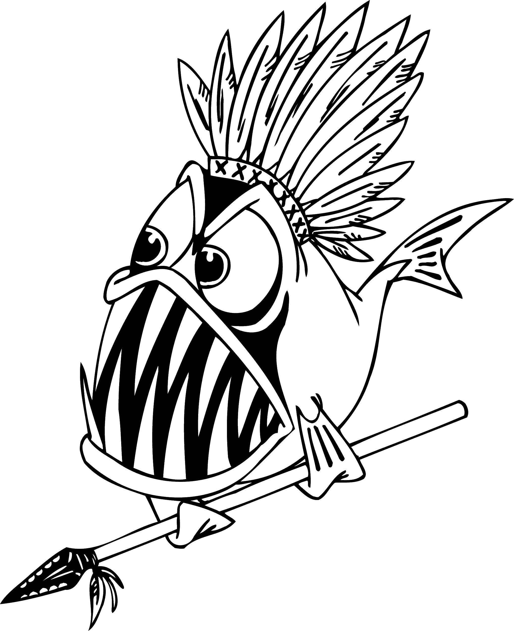 Раскраска Рыба индеец Скачать Подводный мир, рыба.  Распечатать ,раскраски,