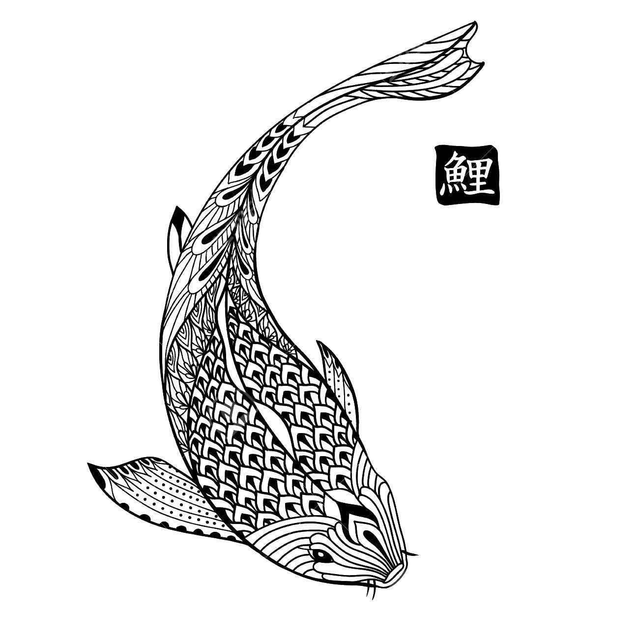 Раскраска Узорчатая рыбка Скачать рыбы, узоры, узорчики.  Распечатать ,рыбы,