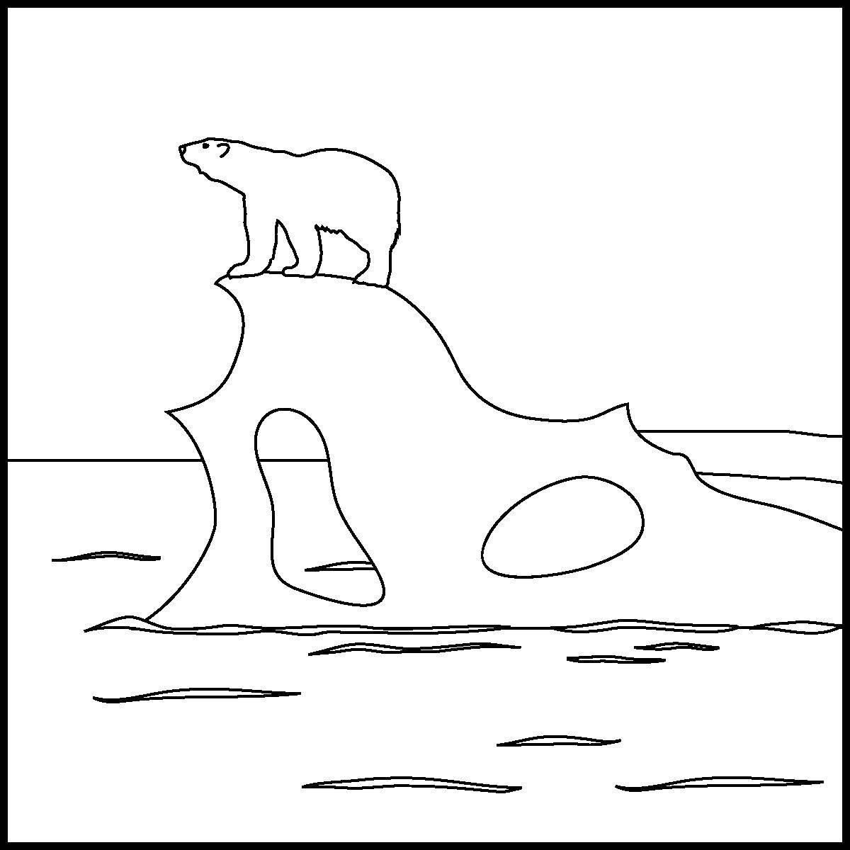 раскраски раскраска белый медведь на айсберге скачать