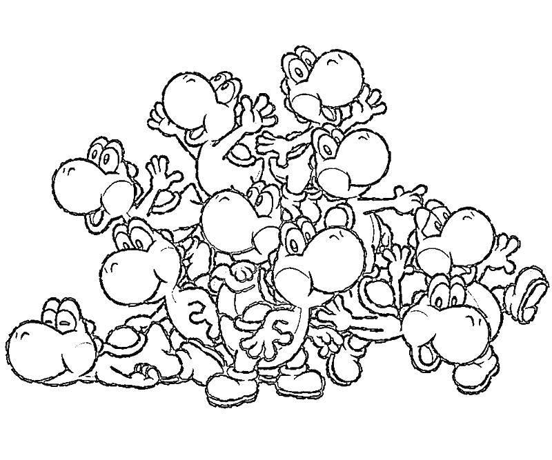 Раскраска Динозаврики из марио. Скачать Игры, Марио.  Распечатать ,Персонаж из игры,
