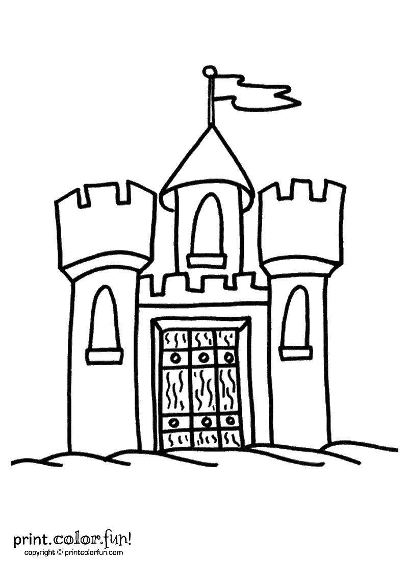 Раскраска Древний замок с башнями. Скачать замки, башни.  Распечатать ,замки,