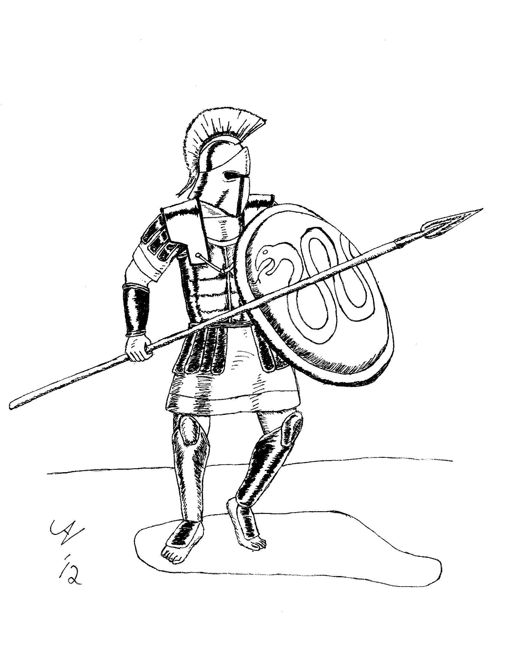 Раскраска Гладиатор готов к бою Скачать гладиаторы, древний рим.  Распечатать ,Люди,