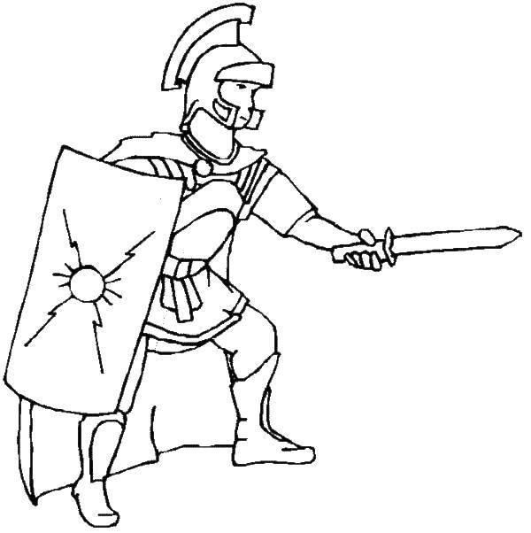 Раскраска Гладиатор с щитом Скачать гладиаторы, древний рим.  Распечатать ,Люди,