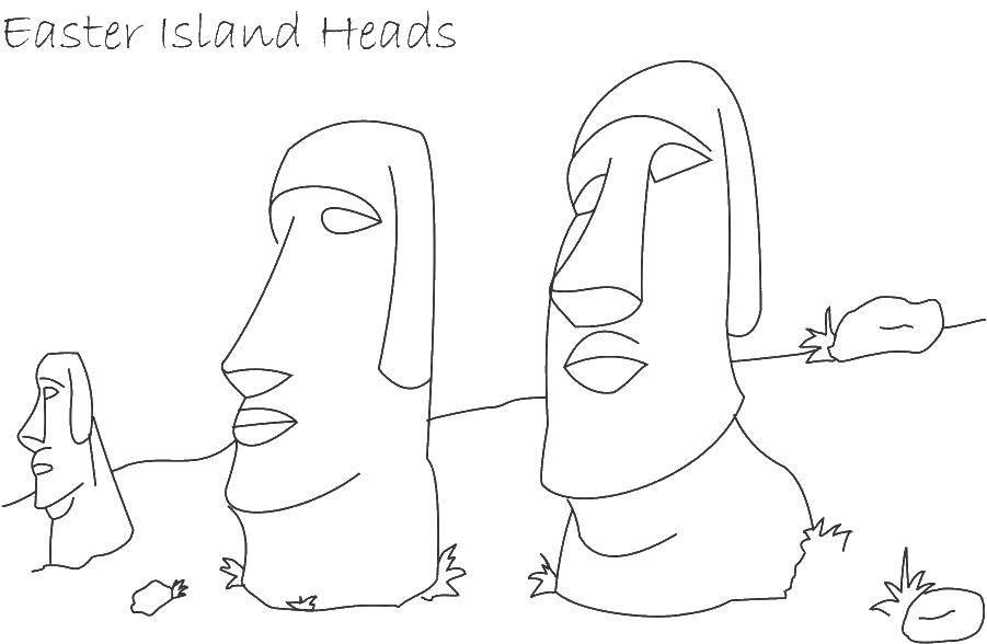Раскраска Головы острова пасхи Скачать Чудеса света.  Распечатать ,Чудеса Света,