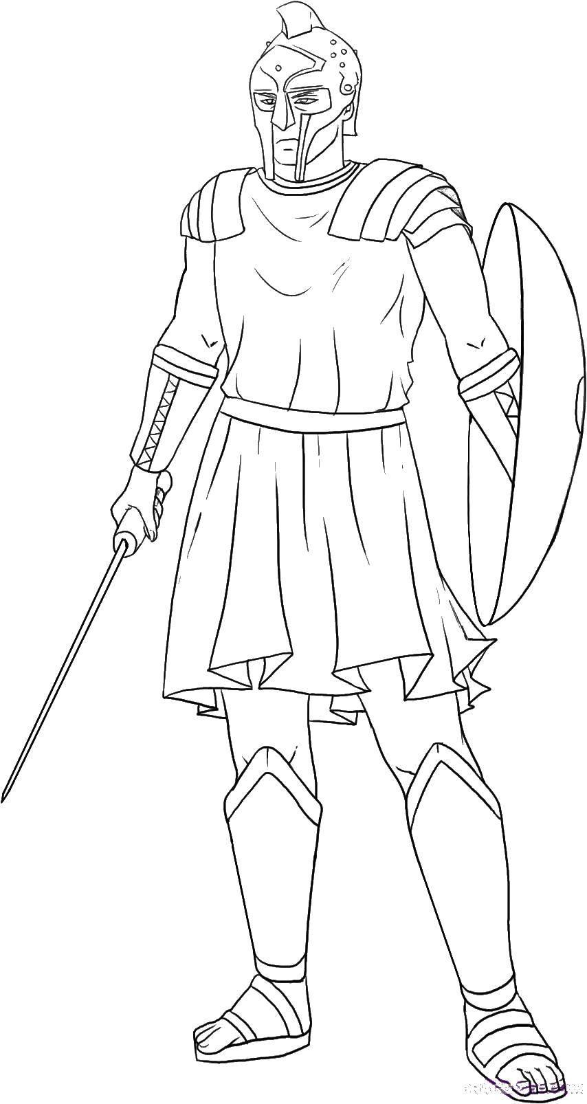 Раскраска Грозные гладиатор Скачать гладиаторы, древний рим.  Распечатать ,Люди,