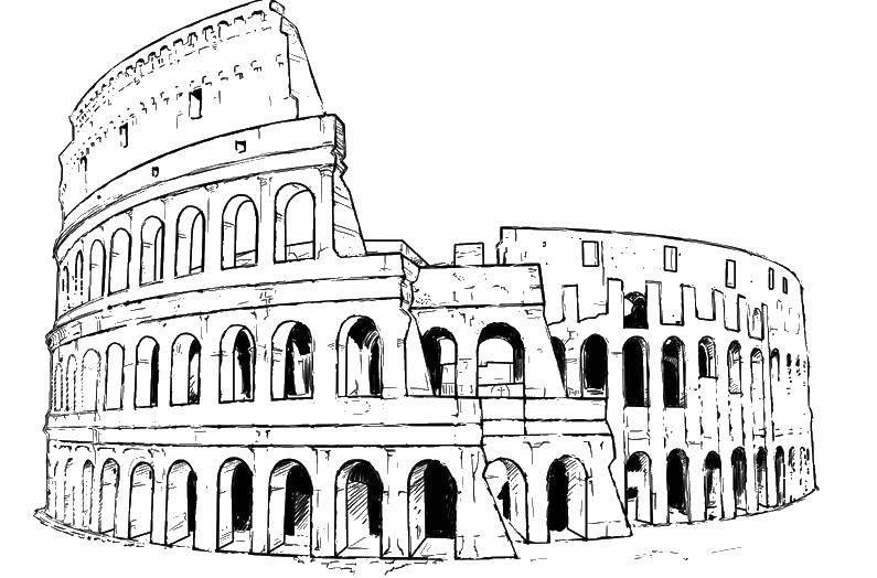 Раскраска Колизей Скачать ,достопримечательности, древний рим, колизей,.  Распечатать