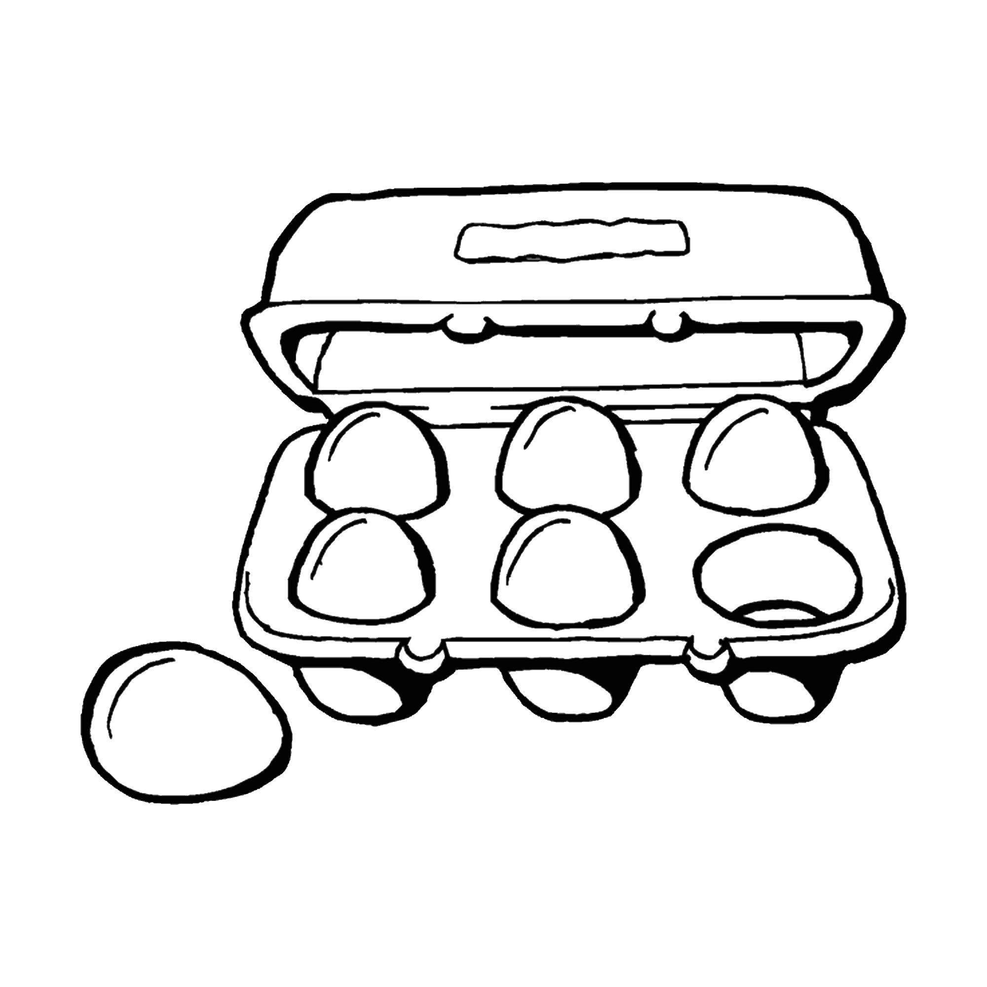 Раскраска Коробка яиц. Скачать еда.  Распечатать ,Еда,