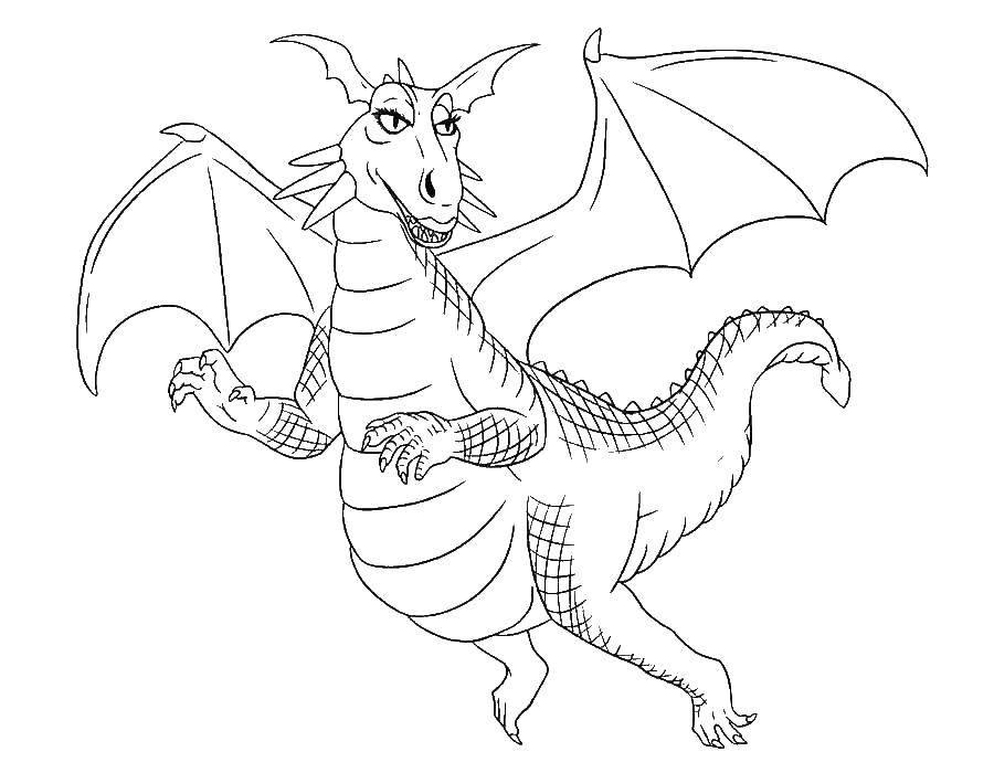 Раскраска Красивая дракониха летает Скачать Драконы.  Распечатать ,Драконы,