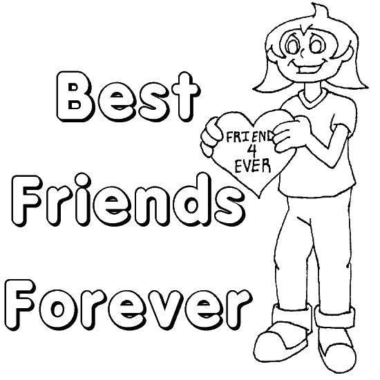 Раскраска Лучшие друзья навсегда Скачать Открытка, поздравление.  Распечатать ,поздравление,