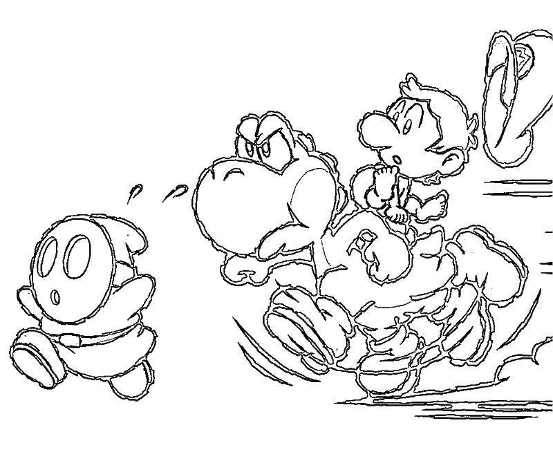 Раскраска Малыш марио Скачать ,Игры, Марио,.  Распечатать