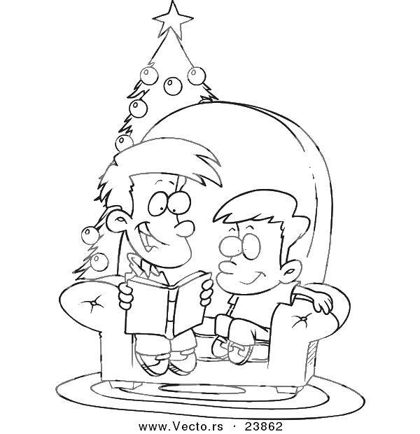 Раскраска Папа и сын у елки. Скачать семья, папа, сын, Рождество, елка.  Распечатать ,Семья,