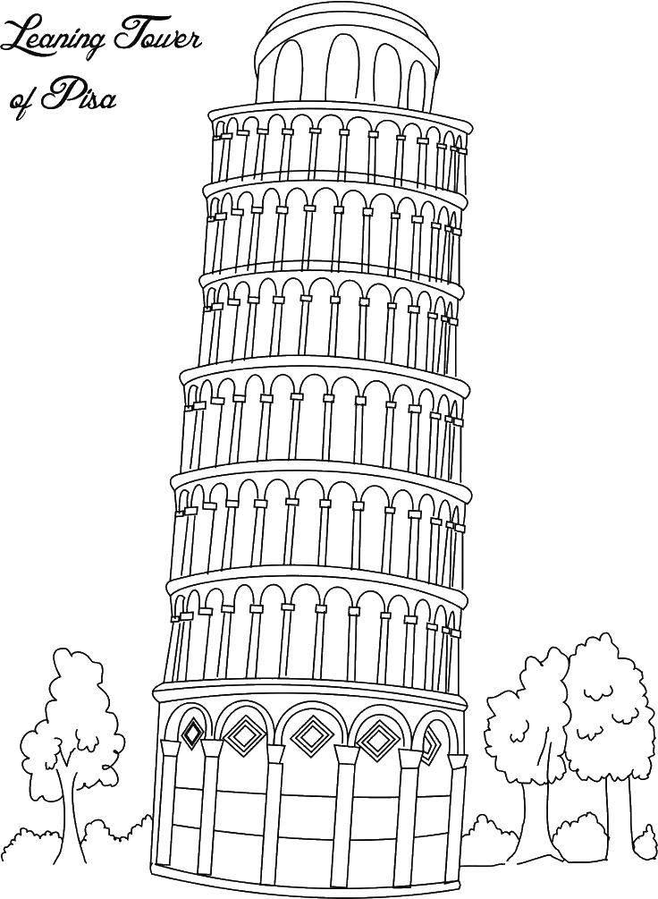 Раскраска Пизанская башня. Скачать достопримечательности, пизанская башня.  Распечатать ,раскраски,