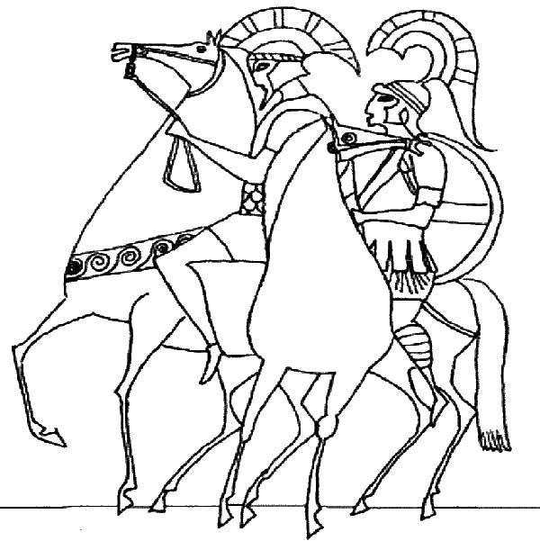 Раскраска Римляне на конях Скачать рыцари, римляне, кони, Рим.  Распечатать ,Рыцари,