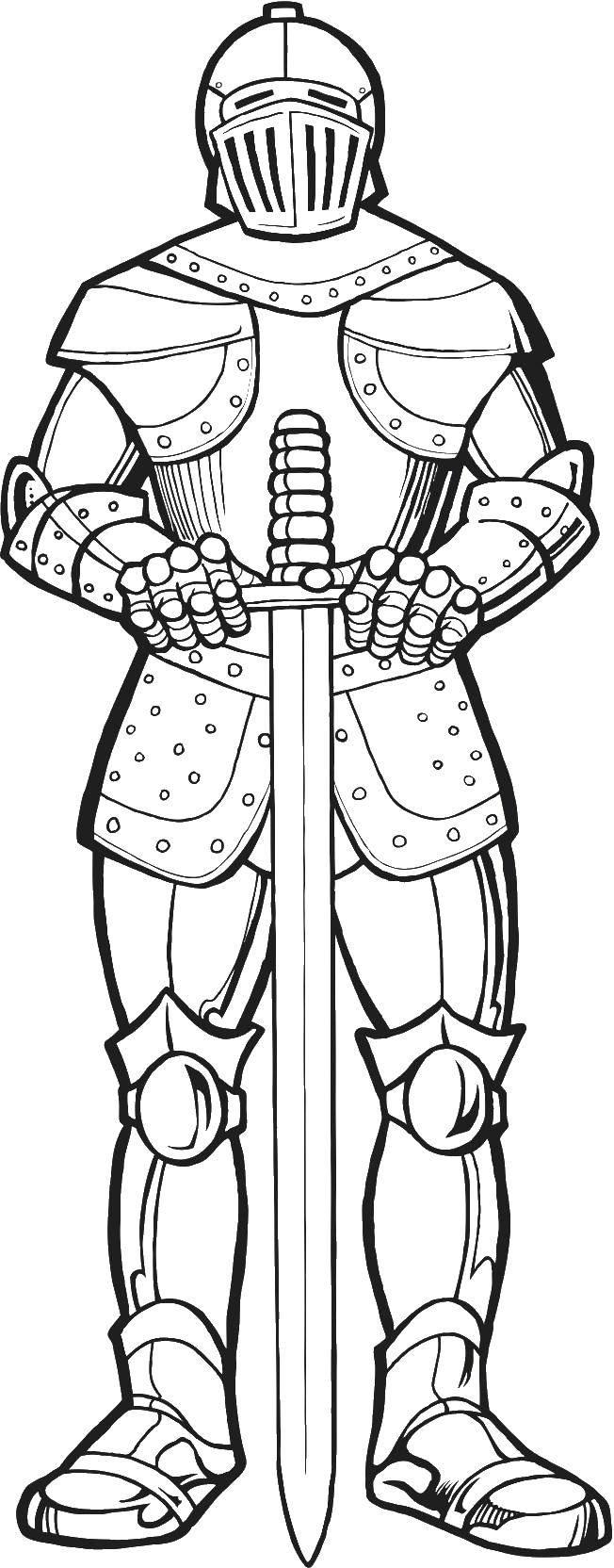 Раскраска Рыцарь в доспехах Скачать рыцари, доспехи, меч.  Распечатать ,Рыцари,
