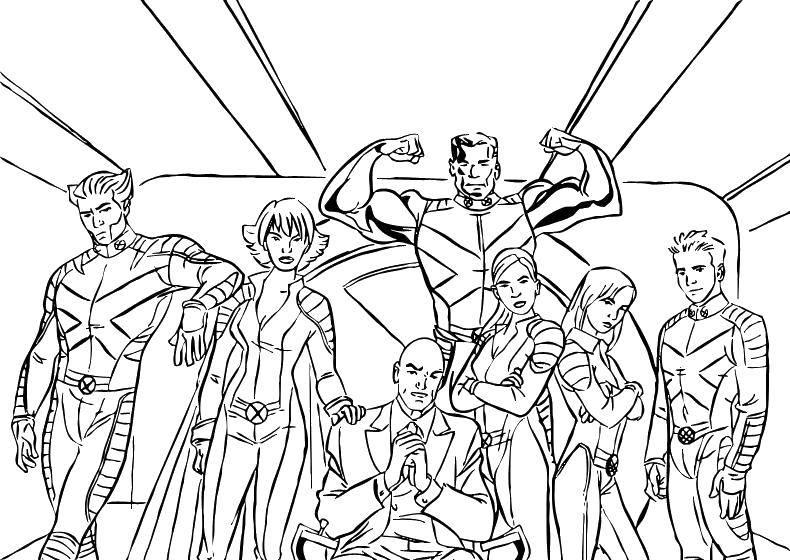 Раскраска Сильная команда Скачать Комиксы.  Распечатать ,Люди икс,