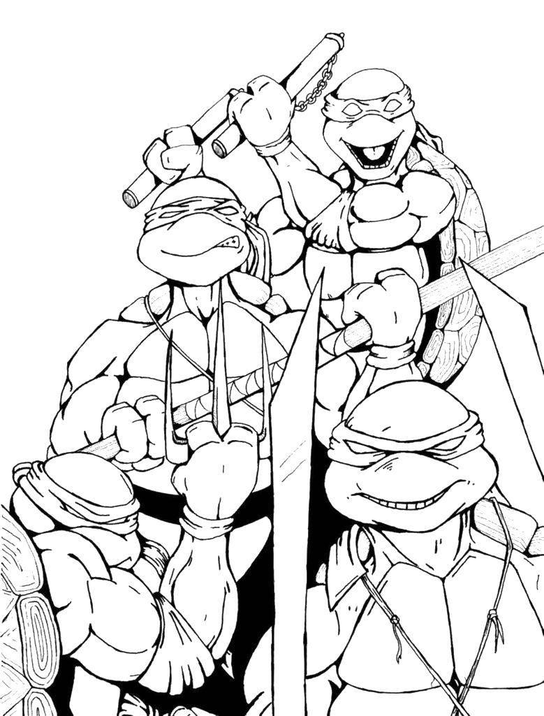 Раскраска Смелая команда Скачать Комиксы, Черепашки Ниндзя.  Распечатать ,черепашки ниндзя,