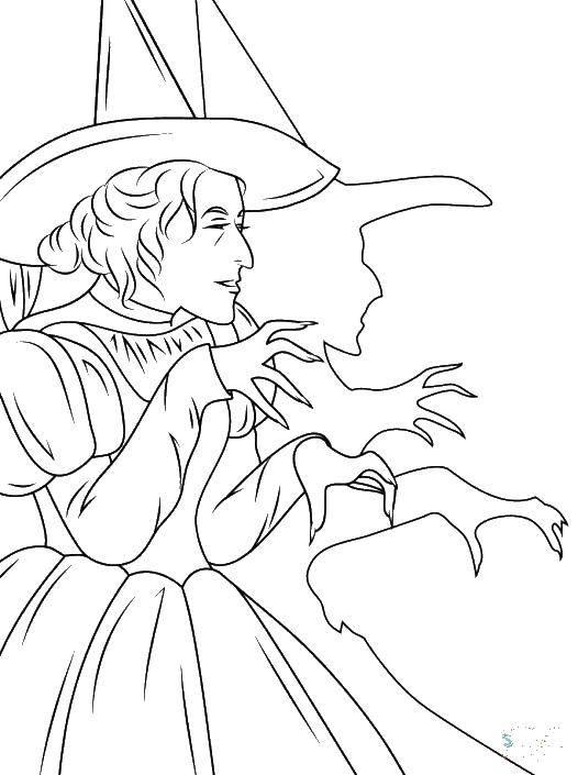 Раскраска Тень ведьмы. Скачать Алиса в стране чудес.  Распечатать ,раскраски,