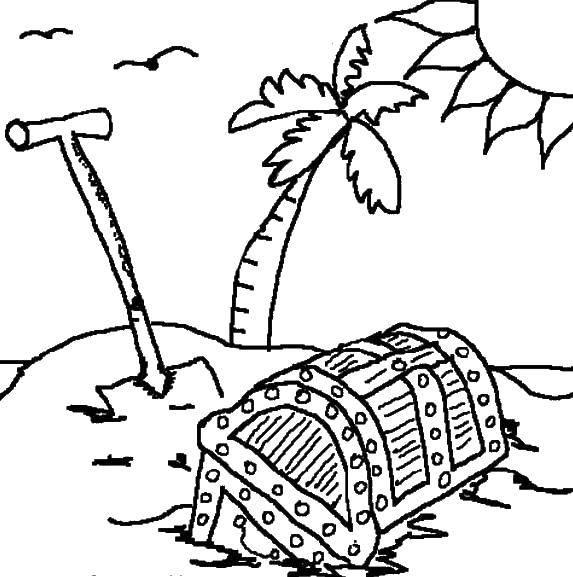 Раскраска Выкопанный клад Скачать Пират, остров, сокровища.  Распечатать ,остров сокровищ,