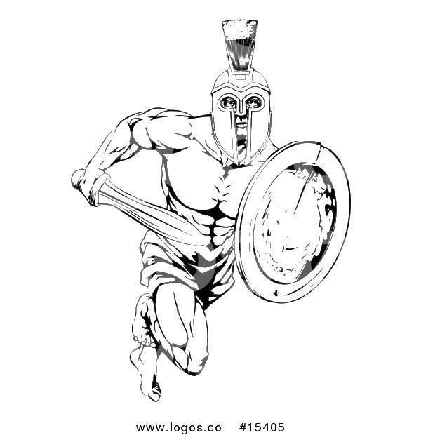 Название: Раскраска Гладиатор с мечом и щитом. Категория: Люди. Теги: гладиаторы, древний рим, шлем, доспехи.