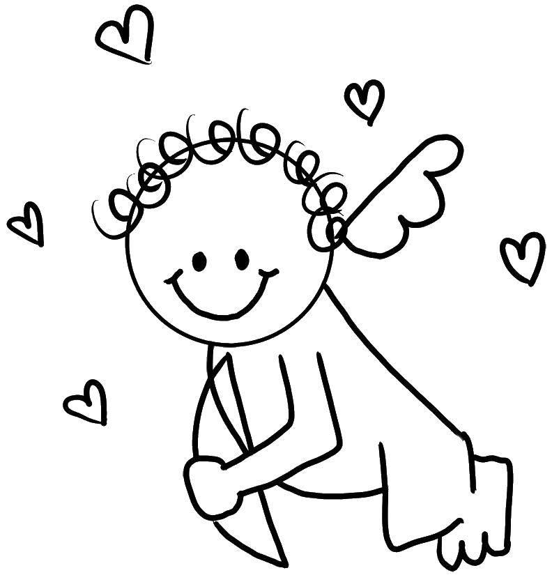Раскраска Ангелок. Скачать ангелы, ангелок, сердечки.  Распечатать ,ангелы,