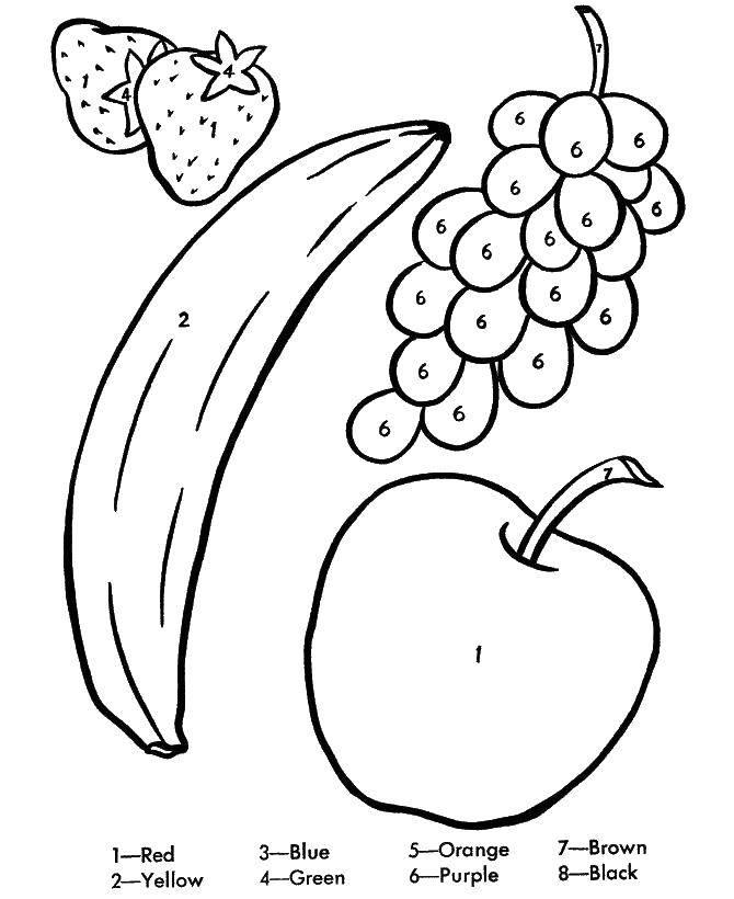Раскраска Банан, яблоко, виноград, клубника Скачать фрукты, ягоды.  Распечатать ,фрукты,