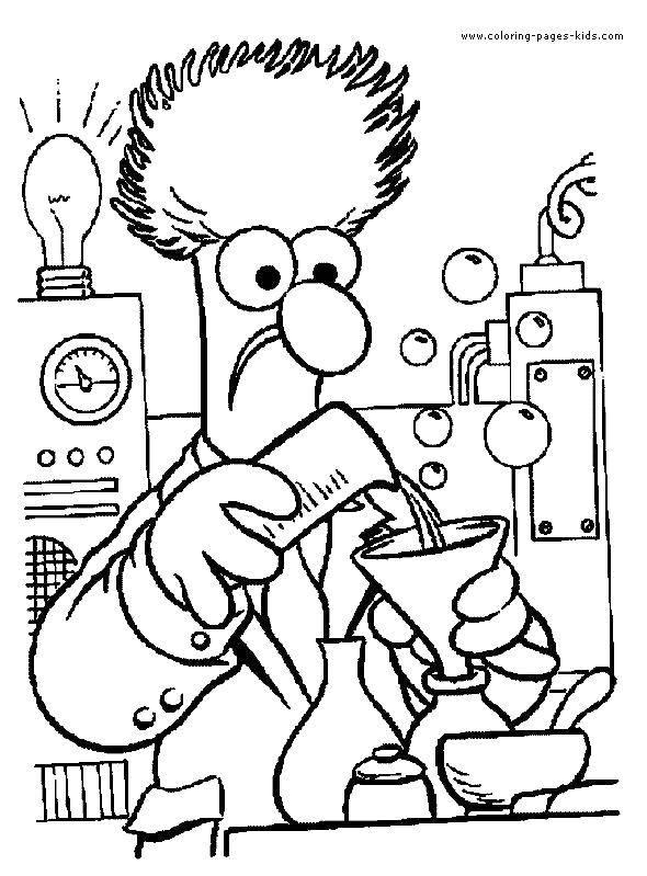 Раскраска Безумный ученый Скачать наука.  Распечатать ,наука,