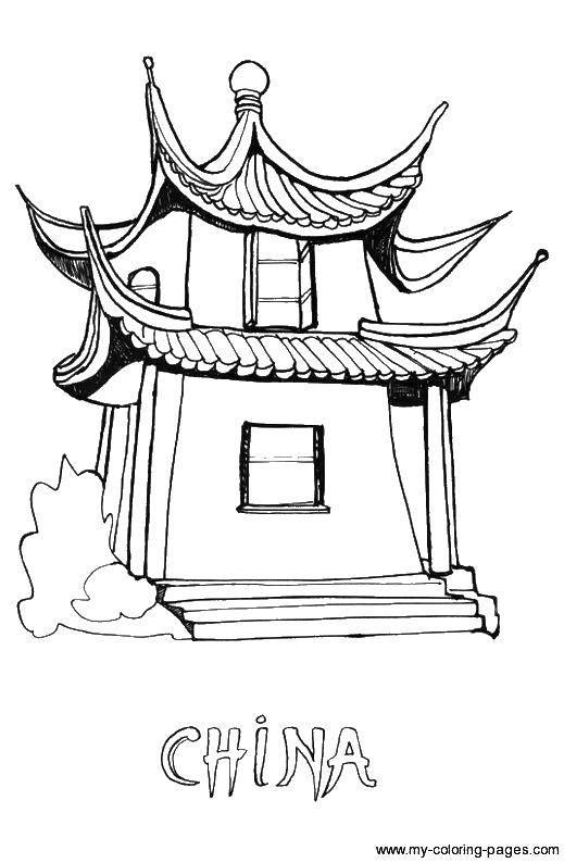 Раскраска Китайский домик Скачать Китай.  Распечатать ,Китай,