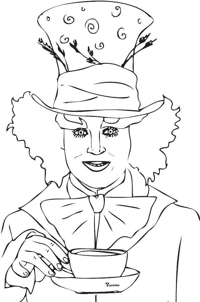 Раскраска Клоун с чашкой Скачать ,клоуны, чашка,.  Распечатать