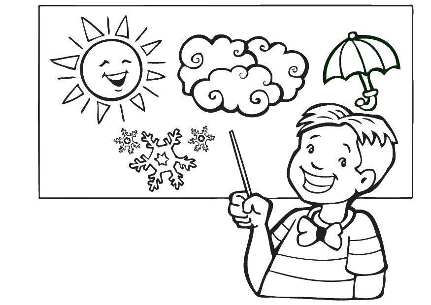 Раскраска Мальчик показывает погоду Скачать погода, мальчик.  Распечатать ,Погода,