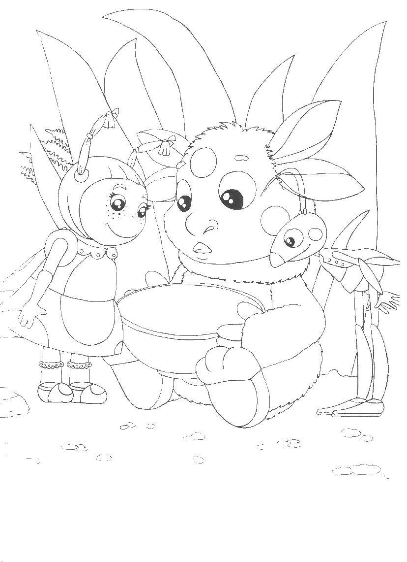 Раскраска Персонаж из мультфильма Скачать цыпленок, скорлупа, тюльпаны.  Распечатать ,детеныши животных,