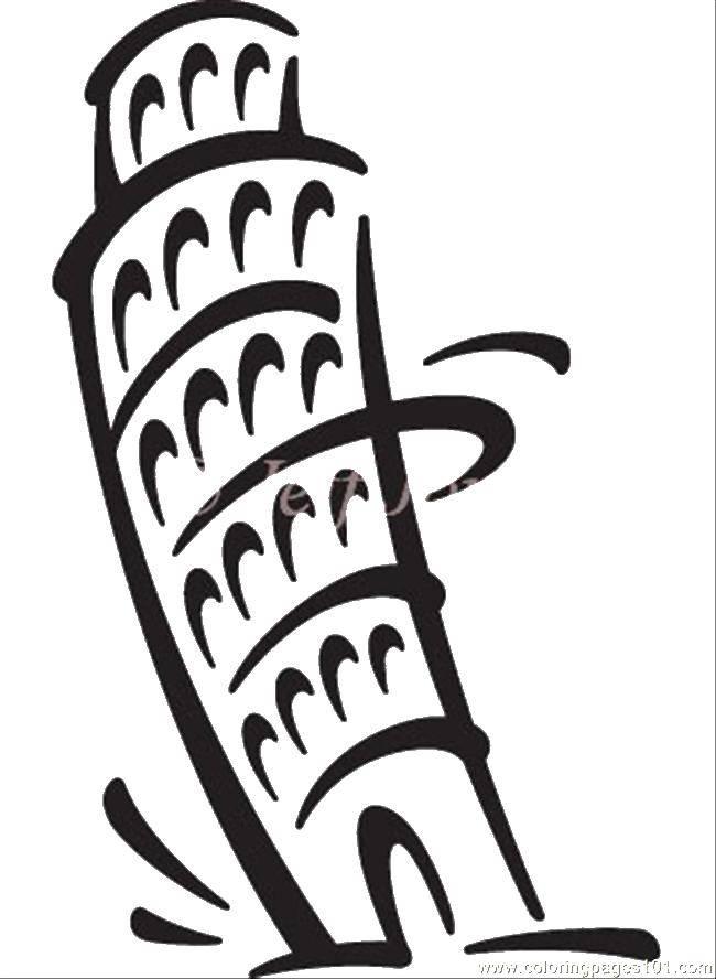 Раскраска Пизанская башня. Скачать Пизанская башня, достопримечательности, башня.  Распечатать ,раскраски,