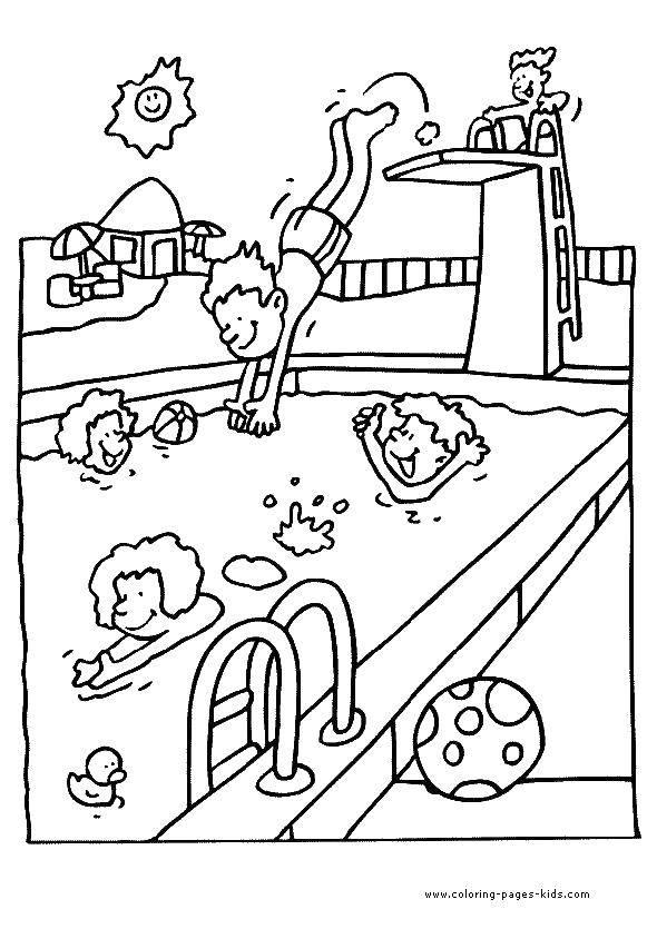Раскраска Прыжок в бассейн Скачать бассейн.  Распечатать ,отдых,