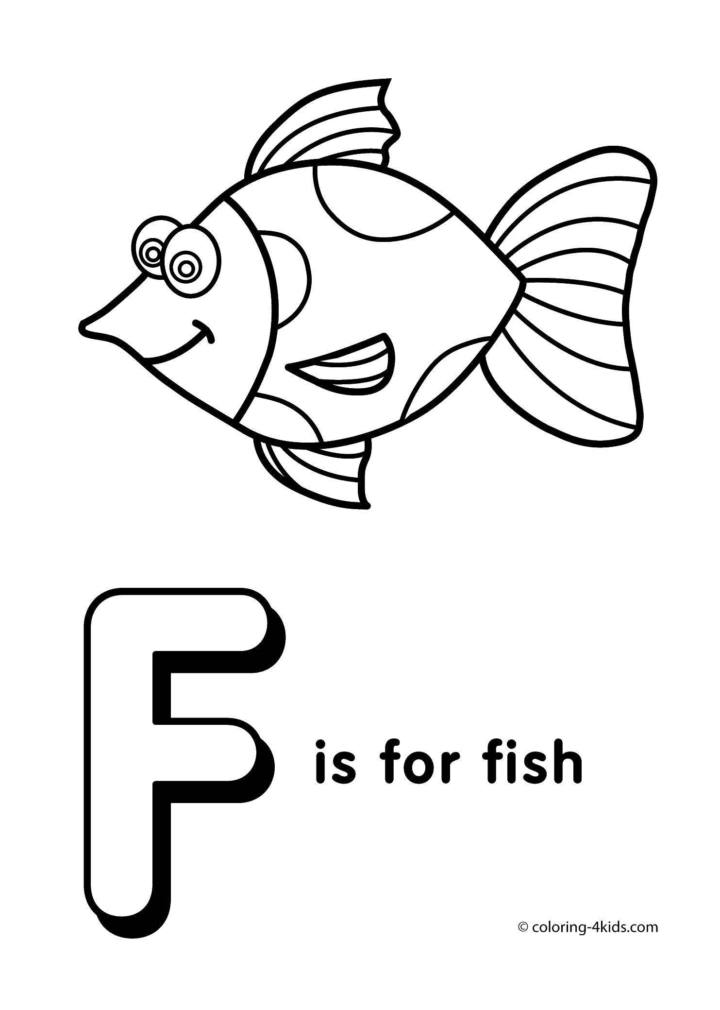 Раскраска Р значит рыбка. Скачать Английский.  Распечатать ,Английский,