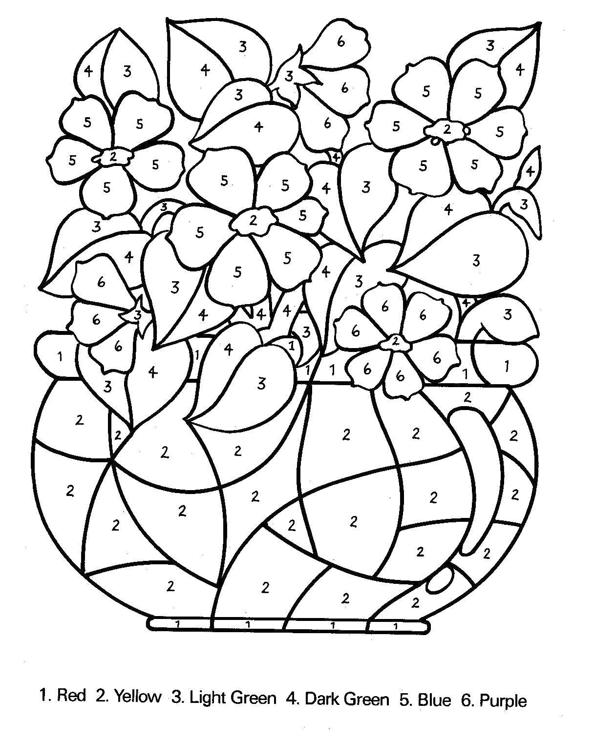 Раскраска Раскрась вазу с цветами по номерам Скачать по номерам, цветы, ваза.  Распечатать ,раскраски по номерам,