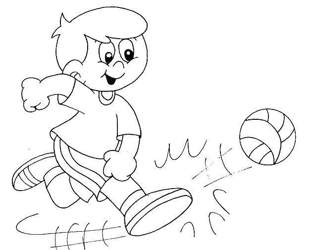 Раскраска Удар по мячику Скачать Спорт, футбол, мяч, игра.  Распечатать ,спорт,