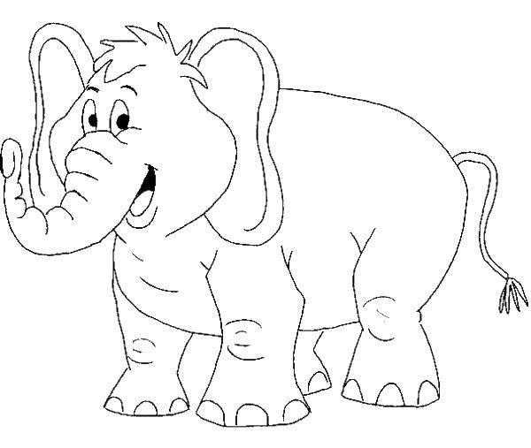 Раскраска Веселый слоник Скачать животные, слоны, слоники.  Распечатать ,Животные,