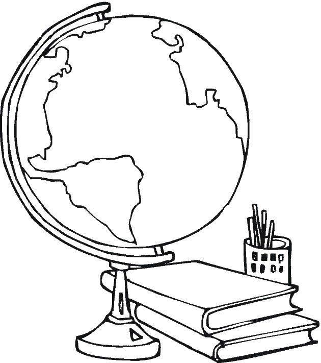Раскраска мебель Скачать ,стол, глобус, книги,.  Распечатать