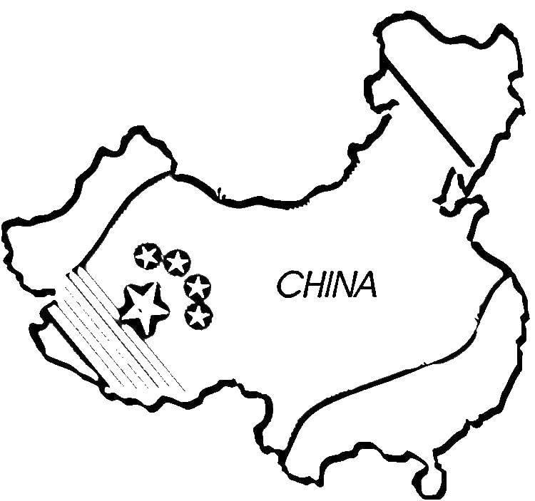 Название: Раскраска Китай, карта. Категория: Китай. Теги: Карта, мир.