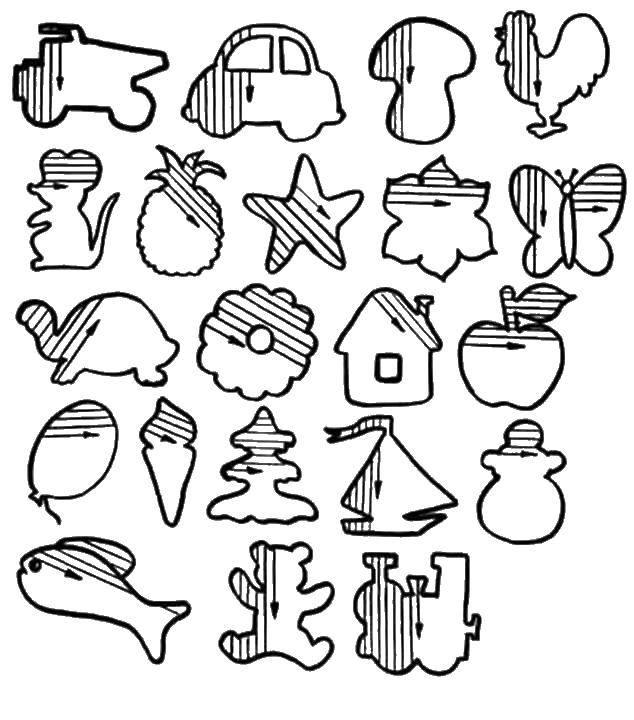 Раскраска Доштрихуй фигуры Скачать ,штриховка, фигуры, предметы,.  Распечатать