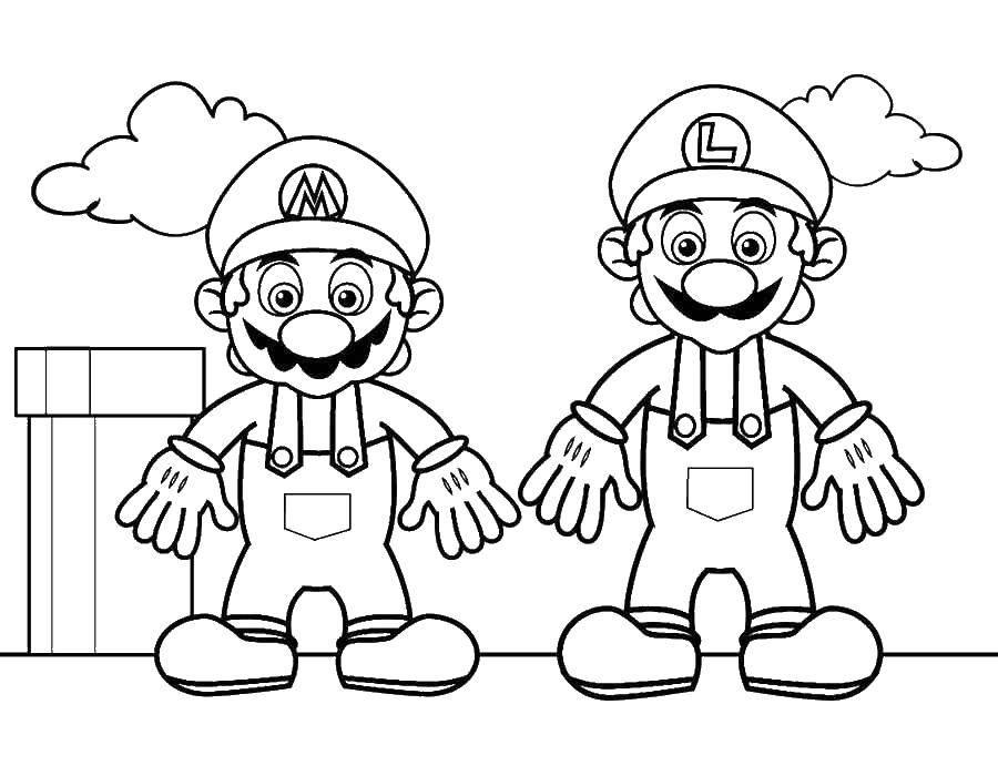 Раскраска Марио и луиджи из игры Скачать марио, луиджи, супер марио.  Распечатать ,марио,