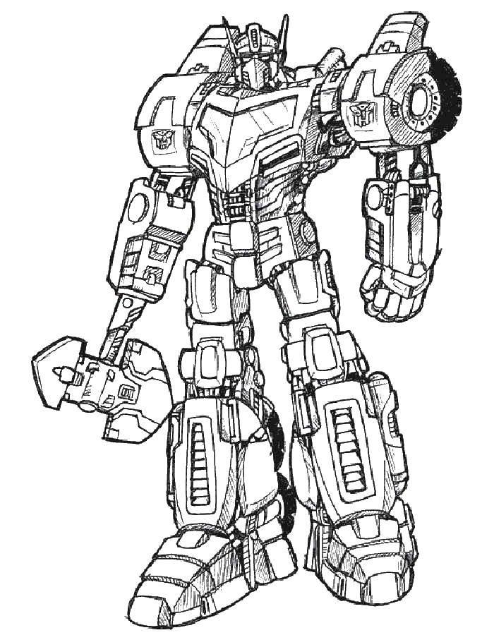 Раскраска Мощный трансформер. Скачать трансформеры, роботы.  Распечатать ,трансформеры,