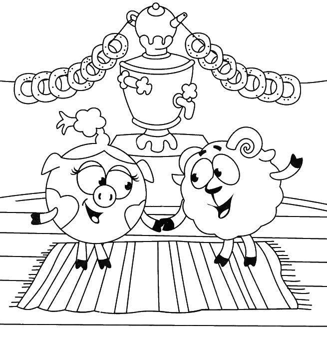 Раскраска Нюша и бараш танцуют Скачать Смешарики, Нюша.  Распечатать ,смешарики,