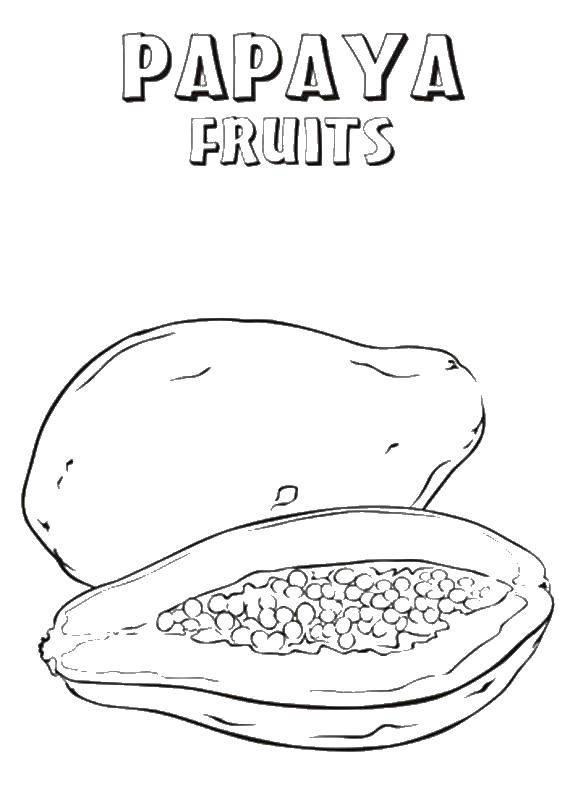 Раскраска Папайя. Скачать фрукты.  Распечатать ,фрукты,