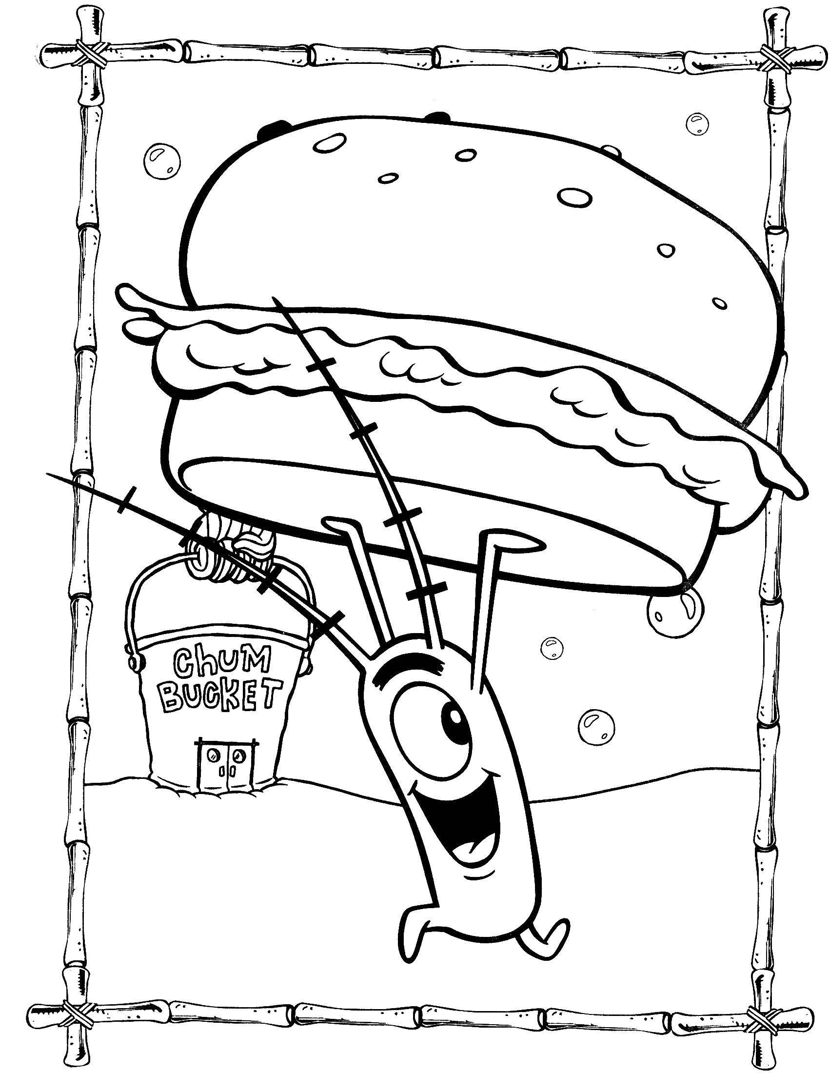 Раскраска Планктон с большим гамбургером. Скачать Планктон, Спанч боб.  Распечатать ,Спанч Боб,