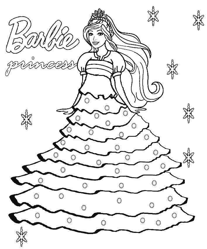 Раскраска Принцесса барби Скачать барби, принцессы, для девочек.  Распечатать ,Барби,