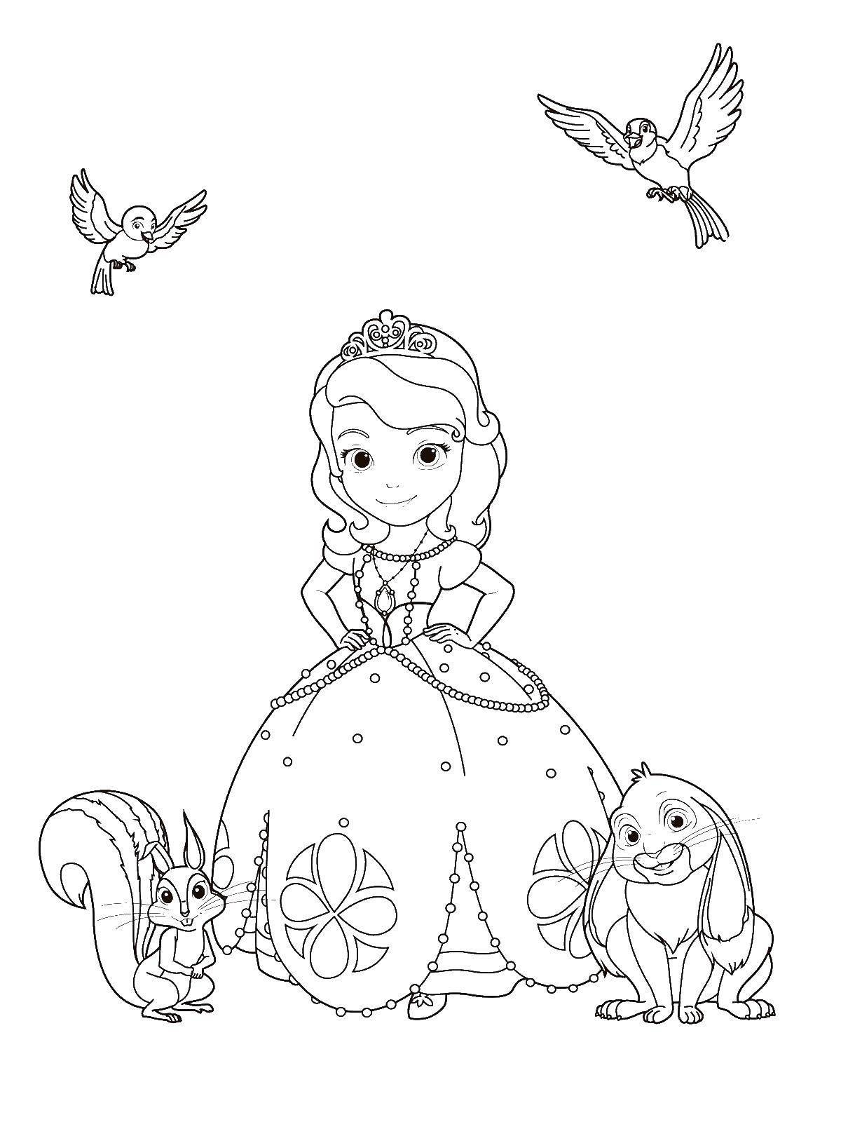Раскраска принцесса софия Скачать гимнастика, гимнастка, мяч.  Распечатать ,гимнастика,