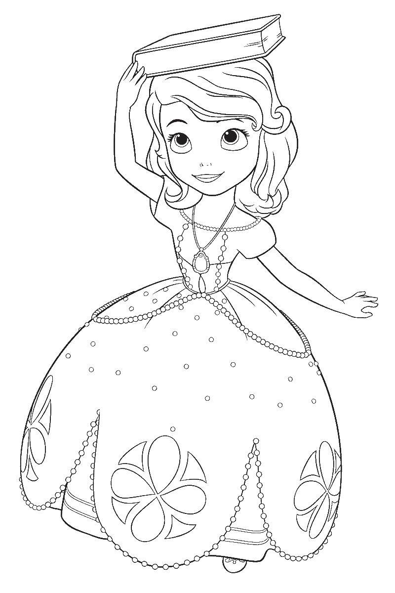 Раскраска Принцесса софия с книгой Скачать принцесса софия, корона.  Распечатать ,принцесса софия,