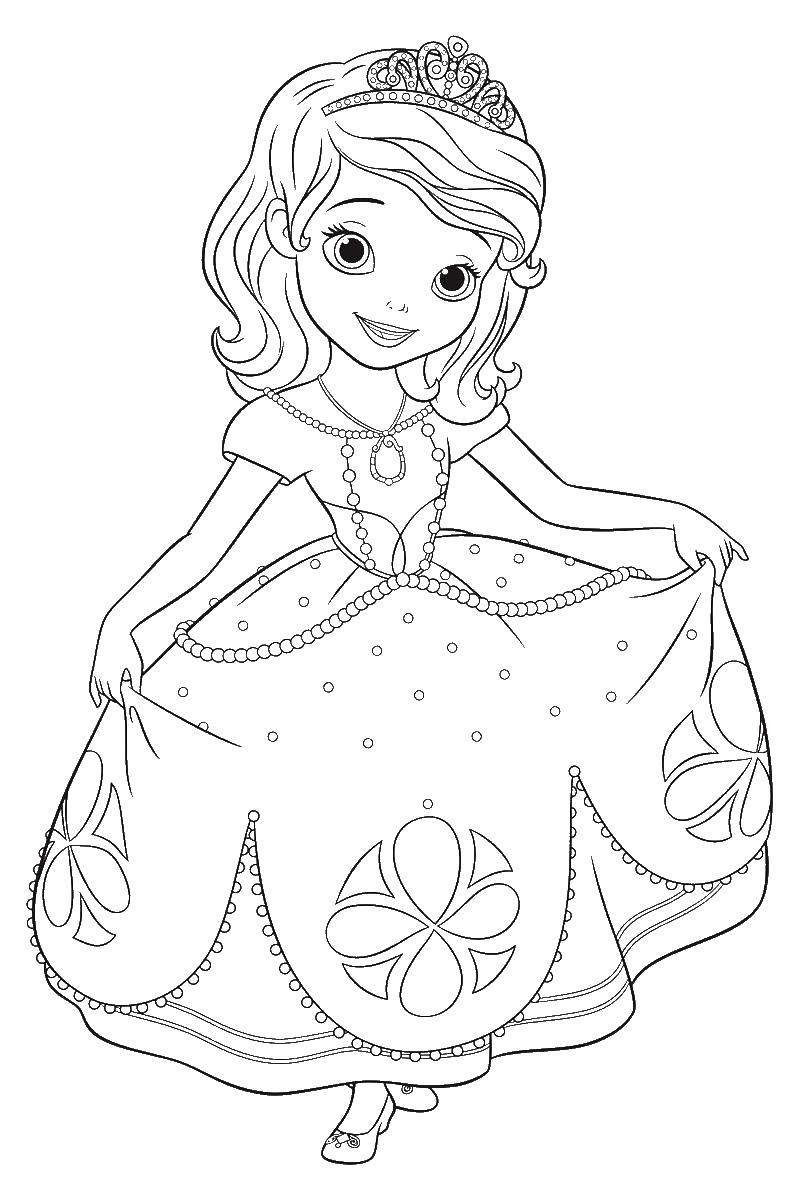 Раскраска Принцесса софия в короне Скачать принцесса софия, корона.  Распечатать ,принцесса софия,