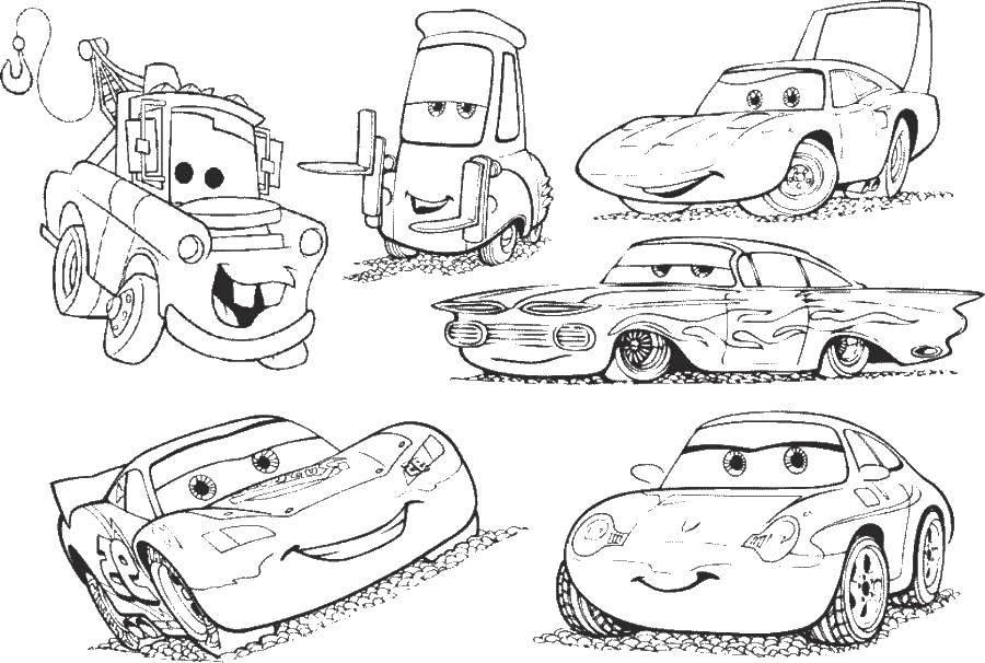 Раскраска Разные машины из тачек Скачать машины, тачки, автомобили, мультфильмы.  Распечатать ,Машины,